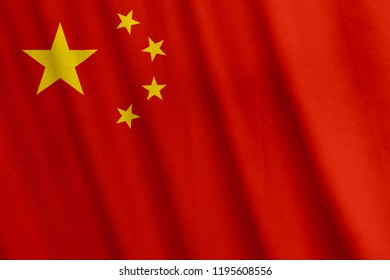 Chinese Flag, with a fabric texture
