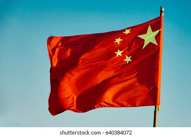 chinese flag floating China