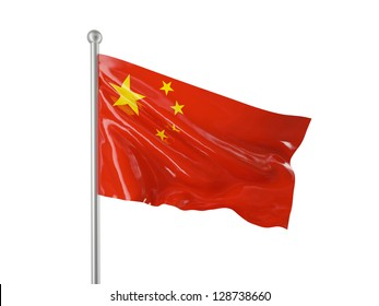 chinese flag isolated on white background