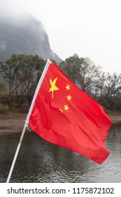 Chinese flag and Li River