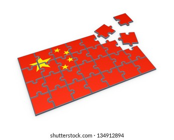 Chinese flag made of puzzles.Isolated on white.3d rendered.