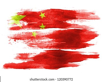 The Chinese flag painted on  white paper with watercolor