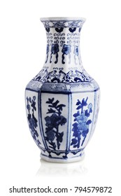 Chinese Floral Pattern Ceramic Vase on White Background