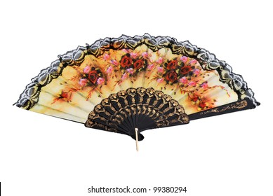Chinese folding fan with a white background