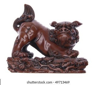 Chinese Foo Dog, also called a Lion Dog Isolated on White with a Clipping Path.
