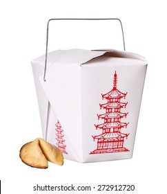 chinese food box container with fortune cookie isolated on white background
