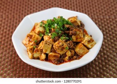 Chinese food called mapo tofu.
