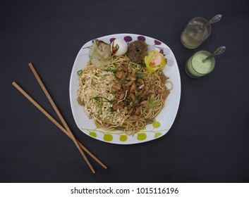 Chinese food, Cantonese food, fried Noodles, Chinese ball black background, fried rice, boiled noodles