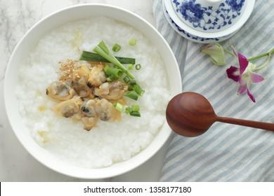 Chinese food, clam rice porridge for breakfast image