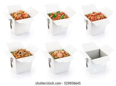 Chinese food collection isolated on white background. Opened take out box.