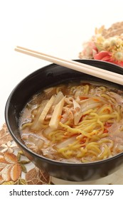 Chinese food, egg noodle in hot and sour soup