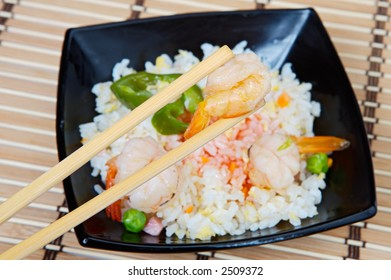 Chinese food (focus in the prawn of the small sticks)
