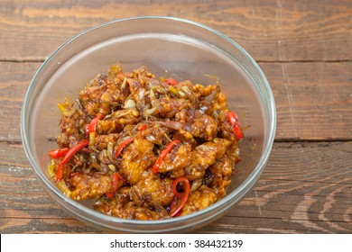 Chinese food, fried chicken with vegetables in spice source