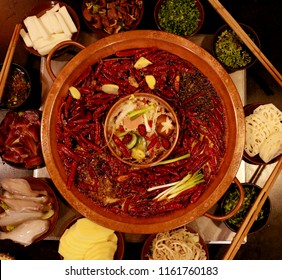 Chinese food hot pot chili Chengdu Sichuan hua go