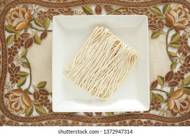 Chinese food ingredient, half dried flour noodles