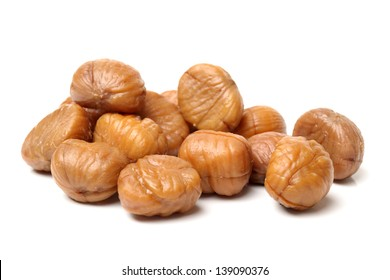 chinese food, peeled roasted chestnut on white background