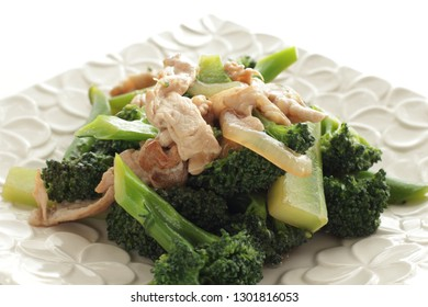 Chinese food pork and broccoli stir fried