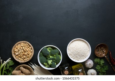 Chinese food raw ingredients, vegetables and nuts. Chinese dishes are most popular around the world. Some sorts of cuisine are Anhui, Cantonese, Fujian, Hunan, Jiangsu, Shandong, Sichuan, and Zhejiang