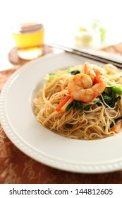 chinese food, shrimp and Rice vermicelli stir fried