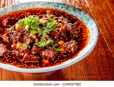 Chinese food spicy duck blood