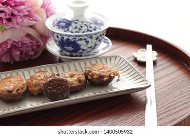 Chinese food, stuffed shiitake mushroom