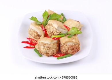 Chinese food,Fried gold bar as spicy fried tofu wrap minced pork .