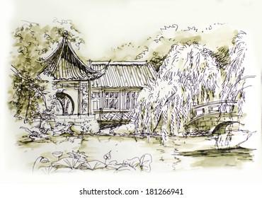 chinese garden beautiful hand illustration