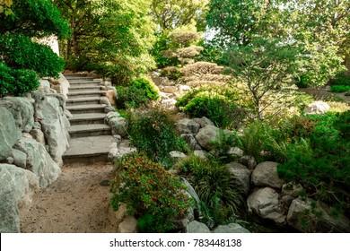 Chinese garden with bridge