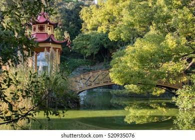 chinese garden bridge reflection view