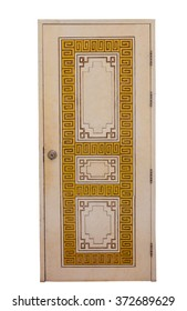 Chinese gate pattern on white background.