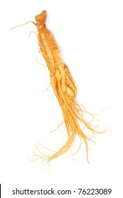 Chinese  Ginseng On White Background