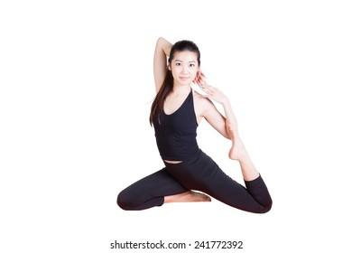 Chinese girl doing yoga pose, isolated on white