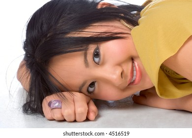 Chinese girl Lying On the floor