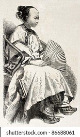 Chinese girl old engraved portrait. Created by Grandsire, published on L'Illustration, Journal Universel, Paris, 1860