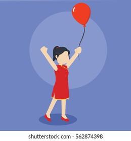 chinese girl playing balloon