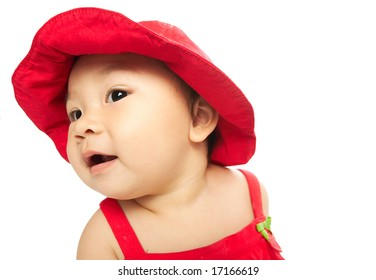 Chinese girl in red hat