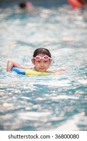 Chinese girl in swimming pool