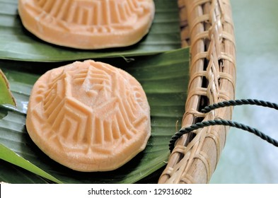 Chinese glutinous rice cake flavored with sweet potato, or local called ang-ku-kueh