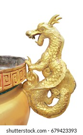 chinese gold dragon statue on isolated and white background