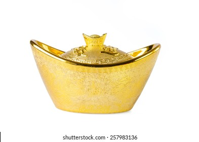 Chinese gold ingots decoration with blessing word on it.
