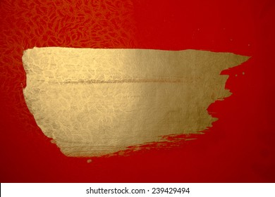 chinese gold ink /red paper