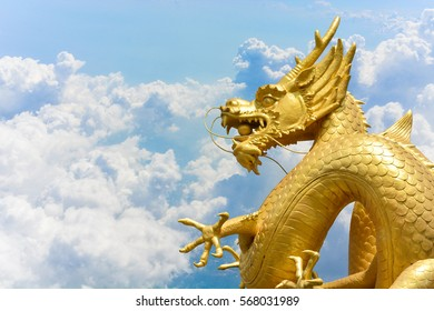 Chinese golden dragon statue on clouds and blue sky background, copy space