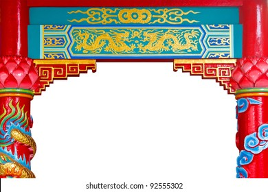 Chinese golden dragon temple painting with pillars frame isolated on white background