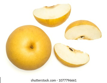 Chinese golden pear top view Nashi variety isolated on white background one round whole three slices