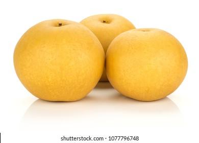 Chinese golden pears Nashi variety isolated on white background three whole round