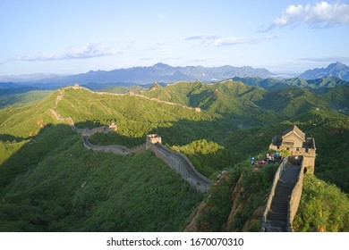 Chinese Great Wall in summer under the blue sky; famous tourist attraction