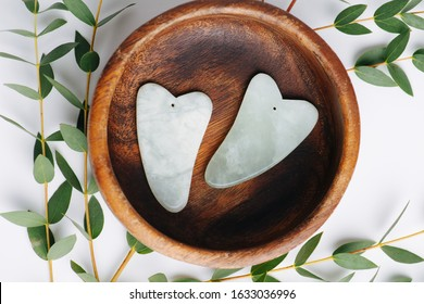 Chinese gua sha stones on a plate with eucalyptus branches over white. Top view. River jade shaped in a special way for a traditional chinese face massage.