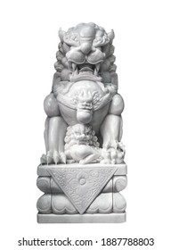 Chinese Guardian Lion Foo Dog Statue Female Paw On cub, protects your home isolated on white background
