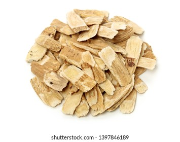 Chinese Herbal medicine - Astragalus slices, Huang Qi (Astragalus propinquus) on white background