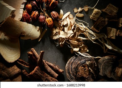 Chinese herbal medicine with dramatic lighting